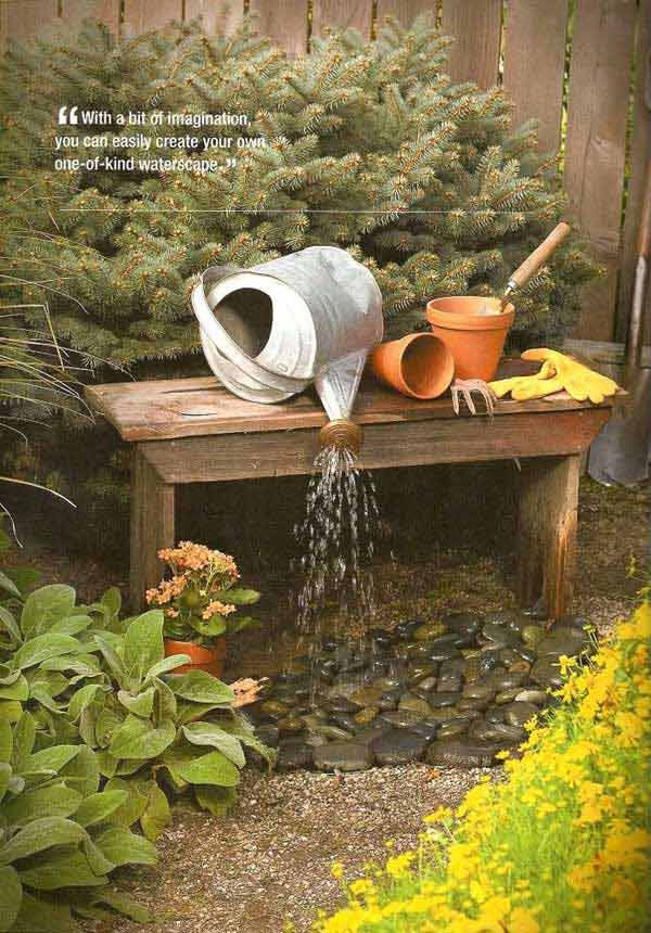 Beautiful Simple Watering Can Transformed Into Small Fountain