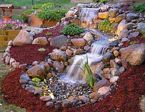 26 wonderful outdoor diy water features tutorials and for Tiered pond waterfall