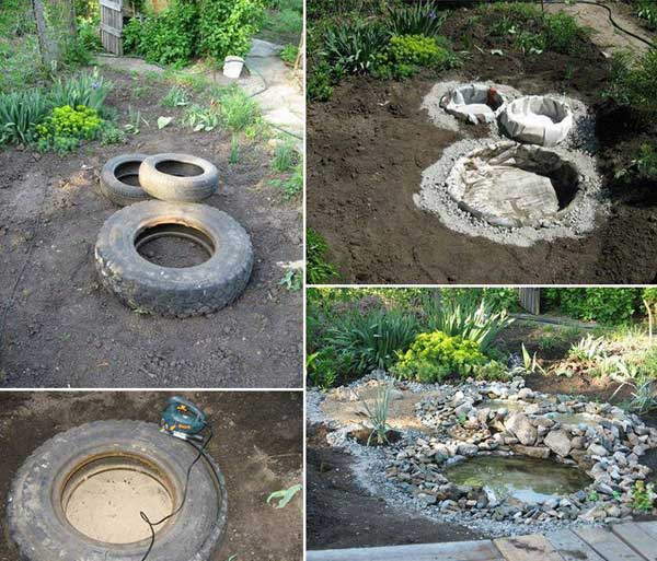 26 wonderful outdoor diy water features tutorials and for Diy patio pond