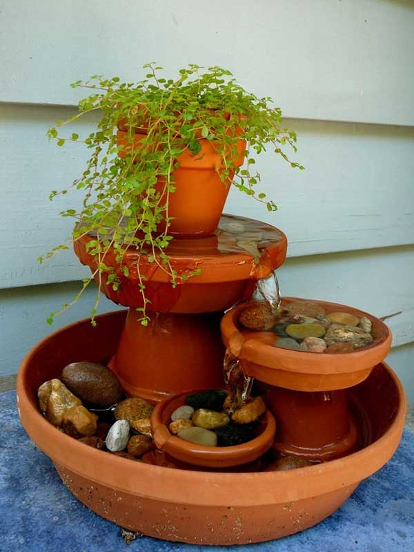 26 Wonderful Outdoor DIY Water Features Tutorials and Ideas ... on rustic gardening, garden fountains, beautiful backyard fountains, classic backyard fountains, tropical backyard fountains, modern backyard fountains, unique backyard fountains, elegant backyard fountains, large backyard fountains, wood backyard fountains, small backyard fountains, bird baths and fountains,