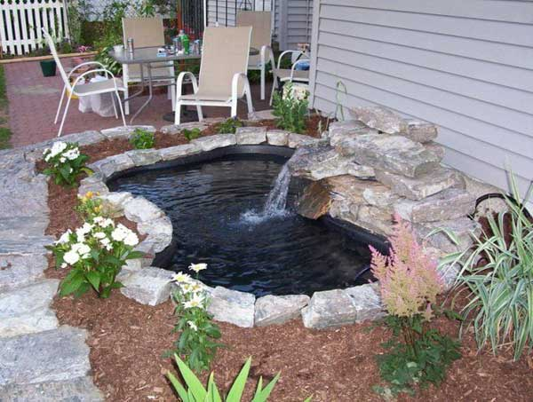 Koi Pond With Water Fountain