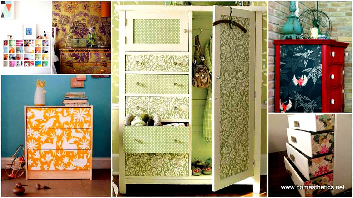 1 27 Super Cool Furniture Transformations Done With Wallpaper