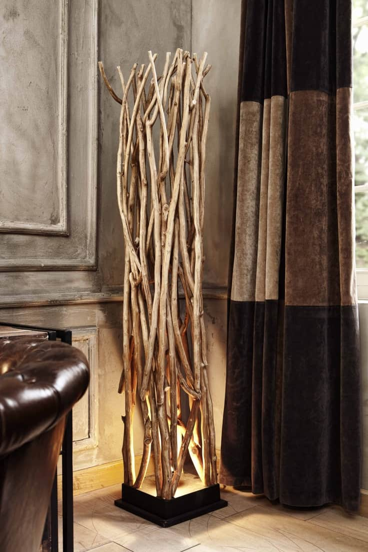 #4 sculptural twigs can swallow a light bulb into a beautiful dramatic wooden lamp