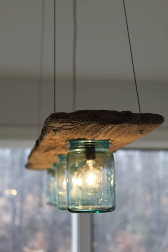 #12 use mason jars and salvaged wood to create intricate details in your household