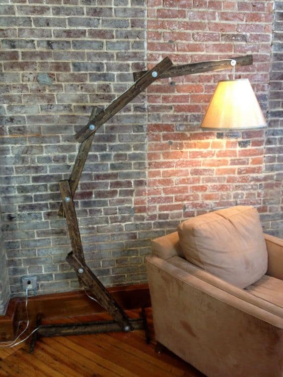 #14 Articulated wooden floor lamp using salvaged wood pieces