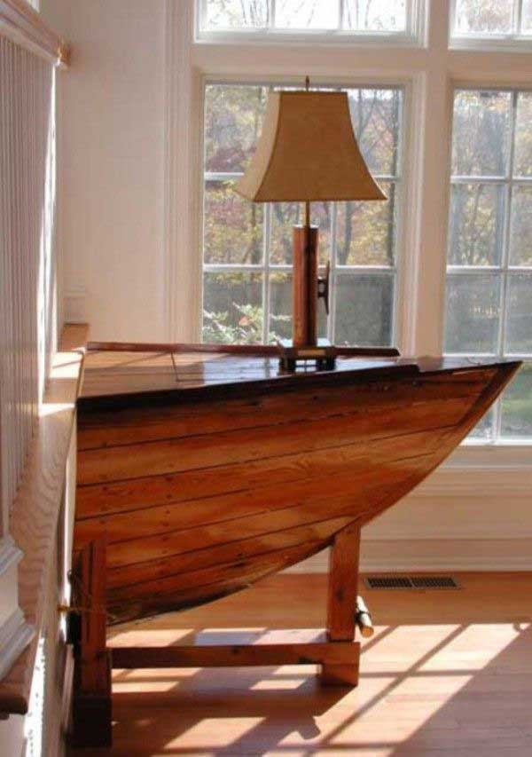 #1 Old Boat Used As A Side Table In The Living Room