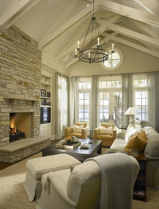 16 ways to add decor to your vaulted ceilings for Great room addition off kitchen