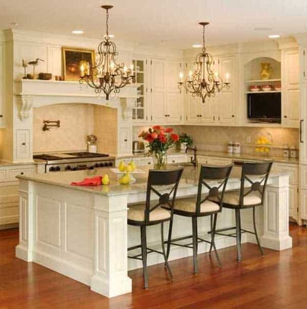 19 Neat Useful Kitchen Isles Designs With Seating Options Included homesthetics decor (12)