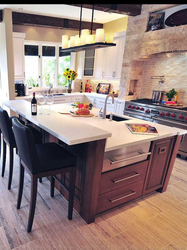 19 Neat Useful Kitchen Isles Designs With Seating Options Included homesthetics decor (2)