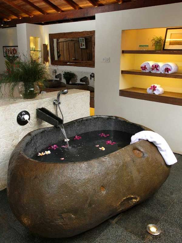 22 Natural Stone Bathtubs Emphasizing Their Spatialities homesthetics cool bathrooms (3)