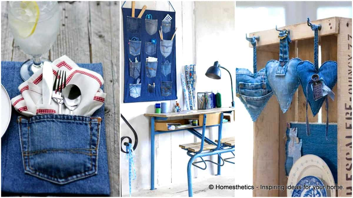 25 unusual cool ways to upcycle old denim into diy projects for Upcycling 20 creative projects made from reclaimed materials