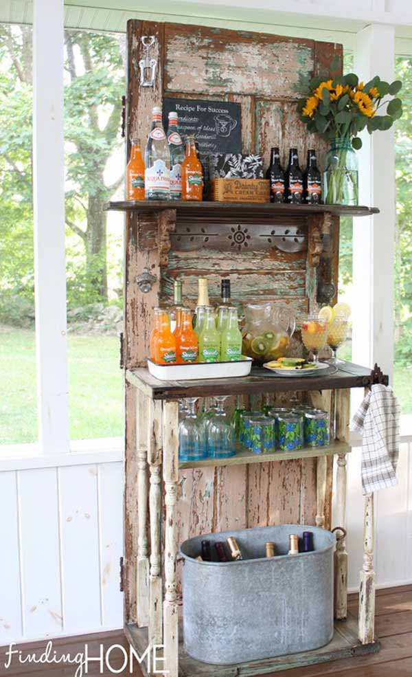 #6 Use An Old Door And One Small Table To Create A Shabby Chic Bar