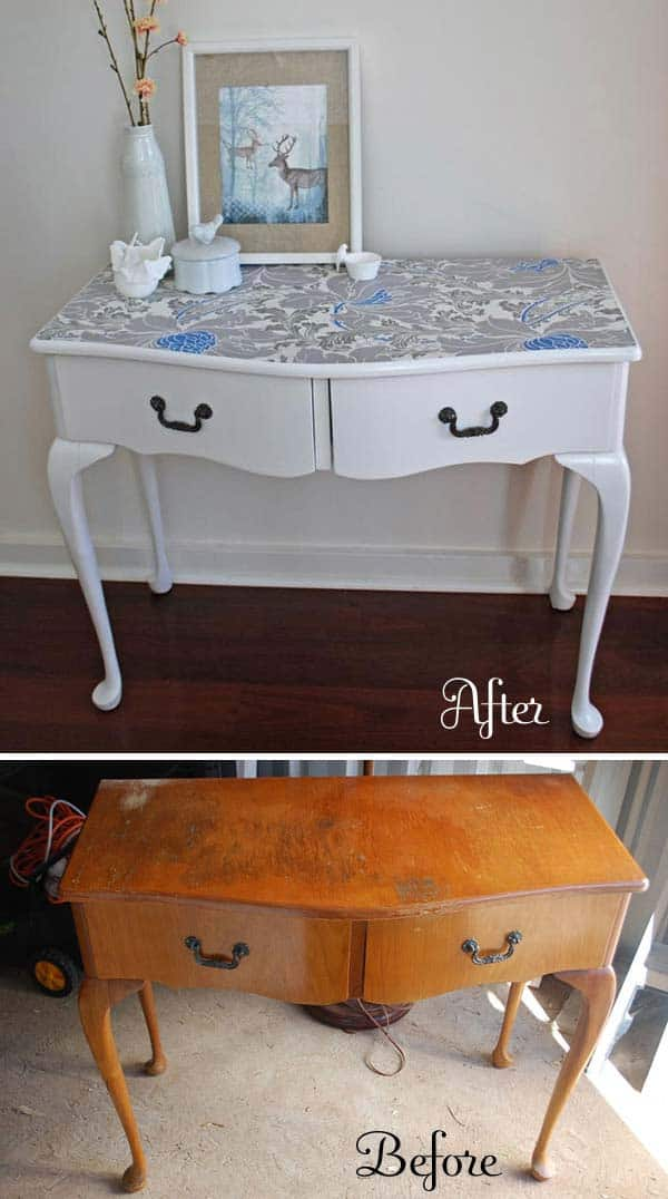27 Super Cool Furniture Transformations Done With Wallpaper homesthetics decor (15)