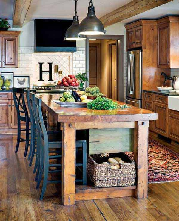 32 Simple Rustic Homemade Kitchen Islands: 32 Super Neat And Inexpensive Rustic Kitchen Islands To