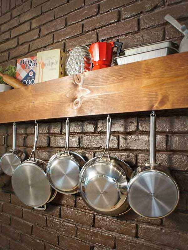 #9 USE A SIMPLE STORAGE SHELF AS A POT RACK TOO