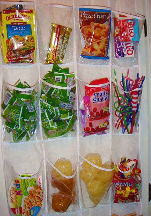 #21 SHOE HOLDERS CAN KEEP FOOD ORGANIZED IN THE PANTRY