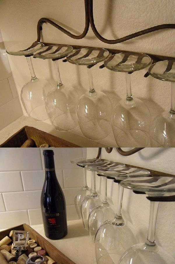 #3 GET CREATIVE AND USE OLD ITEMS -A RAKE CAN BE A WINEGLASS HOLDER