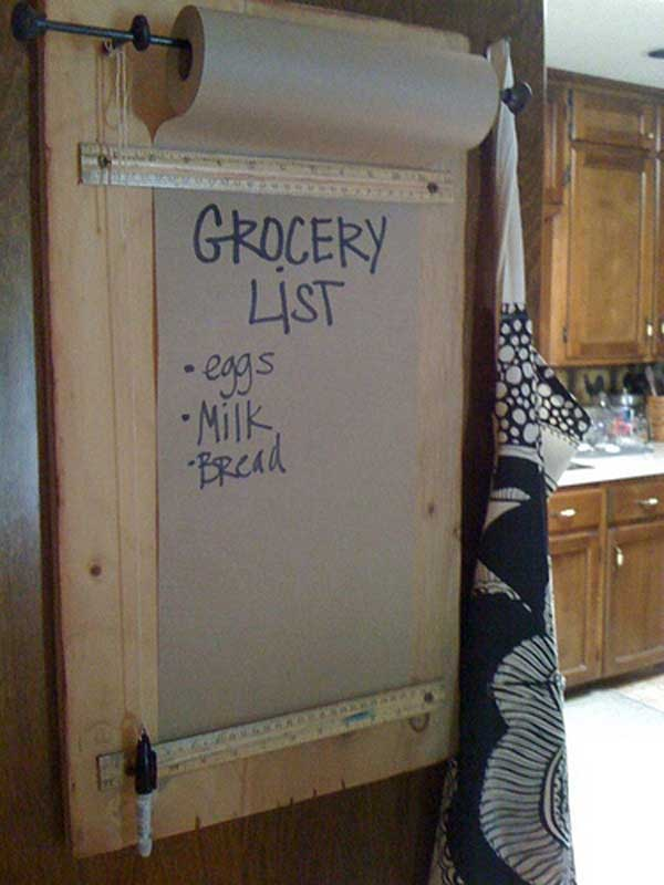 #29 USE A ROLL OF PAPER TO CREATE AN INFINITE LIST OF GROCERIES