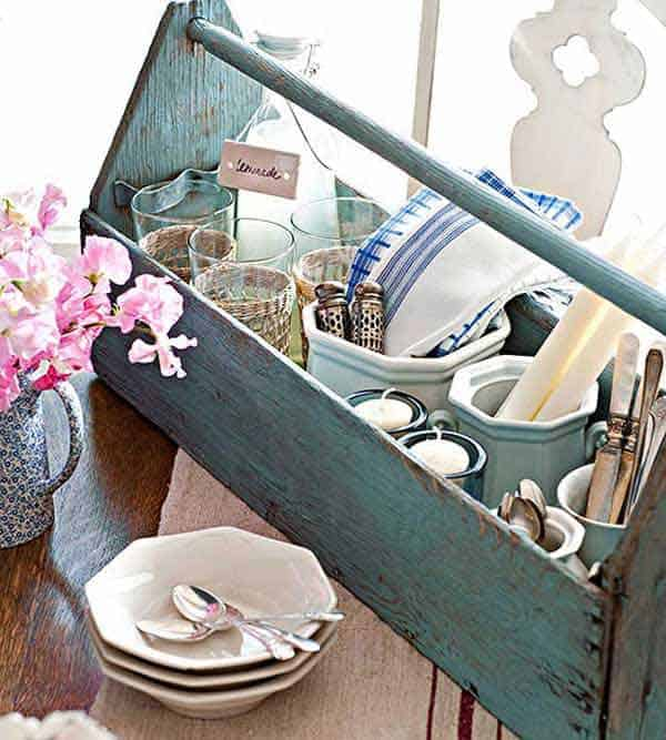 #35 USE OLD TOOL ORGANIZERS TO SERVE BREAKFAST IN A VINTAGE MANNER
