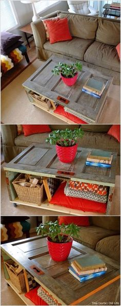 RECYCLE OLD WOODEN DOORS INTO LARGE COFFEE TABLES WITH STORAGE SPACE