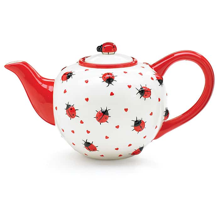 #13 A LADY BUG TEA POT DESIGNED FROM POTTERY PAINTING