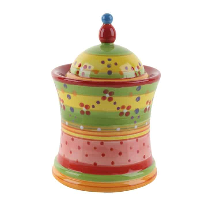 #9 MULTICOLORED POTTERY PAINTED CANISTER FOR HOME USE