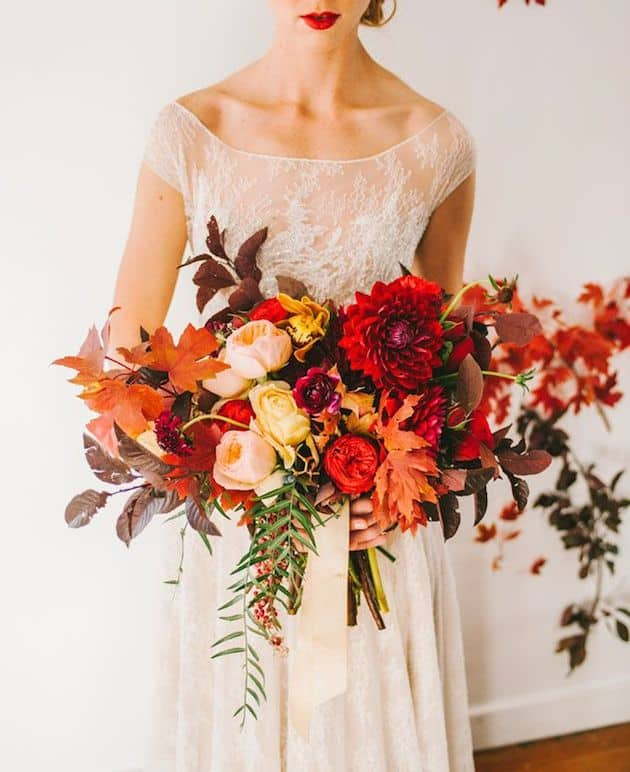 #10 full fall spread bridal bouquet