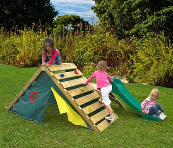 #11 CREATE AN OUTDOOR TENT WITH A SAFE CLIMBING WALL ON TOP