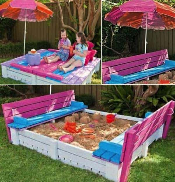 #2 CREATE A SAND BOX WITH FOLDABLE BENCHES