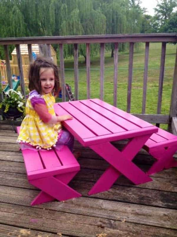#24 A CUSTOM OUTDOOR DINNING TABLE IN PINK IS FANCY AND BEAUTIFUL