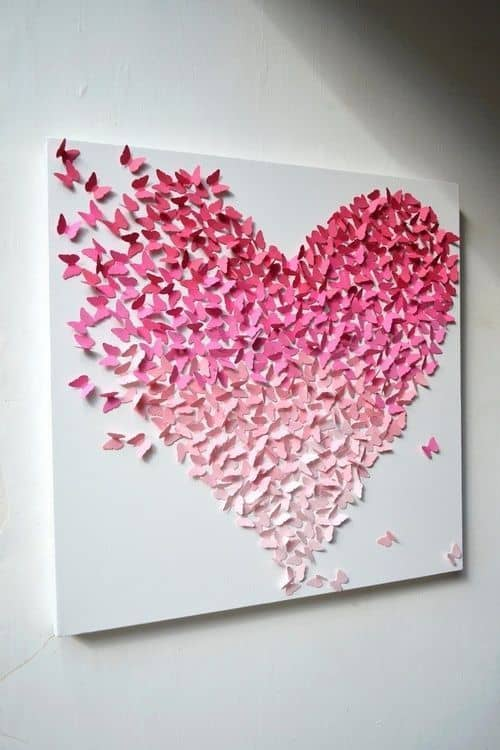 #33 ANOTHER BRILLIANT DIY WALL ART IDEA IN THE SHAPE OF A HEART