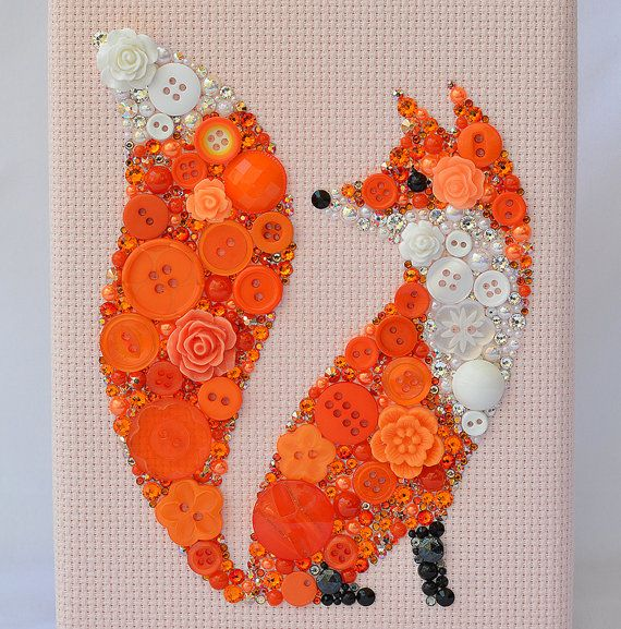 # 22 ORANGE FOX MADE  FROM A VARIETY OF BUTTONS FOR A UNIQUE WALL ART IDEA