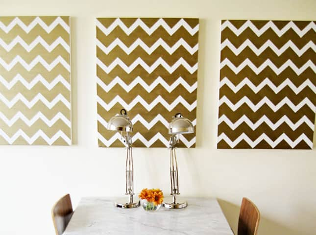 #9 DIY CHEVRON ARTWORK FOR YOUR BLANK WALL - JUST USING SOME TAPE AND PAINT