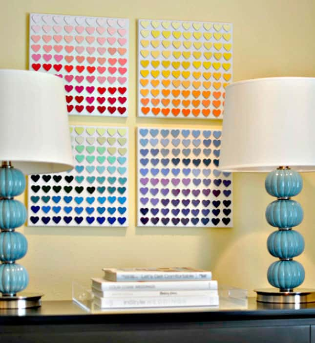 #11 THIS DIY WALL ART IDEA WAS DONE WITH PAINT CHIPS JUST BY BLENDING DIFFERENT COLORS AND TONES
