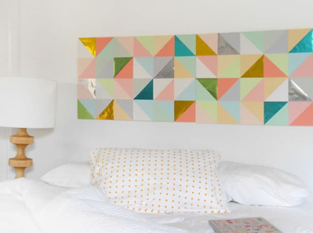 #12 THIS GEOMETRIC WALL ART IDEA WAS USED INSTEAD OF A HEADBOARD