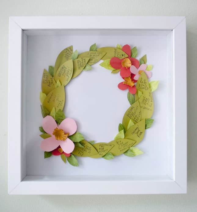 #1 LEAF SHAPED FLORAL WREATH DIY IDEA GREAT FOR A BRIDAL PARTY - WITH EVERYONE'S NAME ON A LEAF