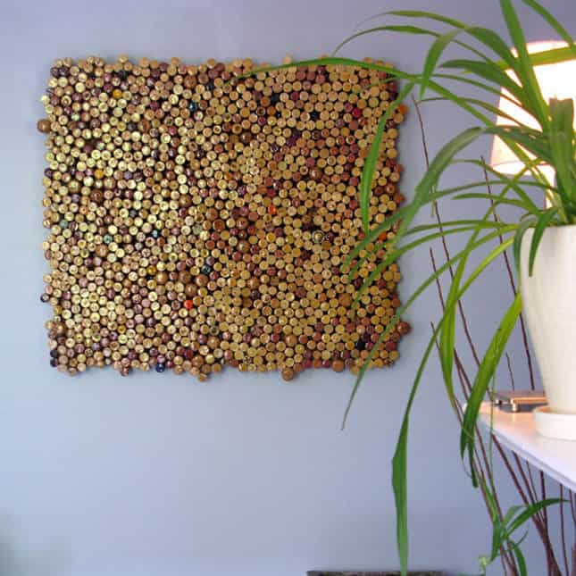 # 19 WINE BOTTLE CORK USED TO MAKE THIS GENIUS WALL ART IDEA