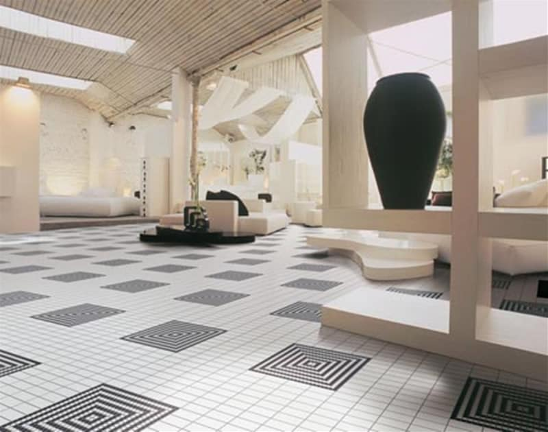 15 inspiring floor tile ideas for your living room home decor for Tiled living room floor designs