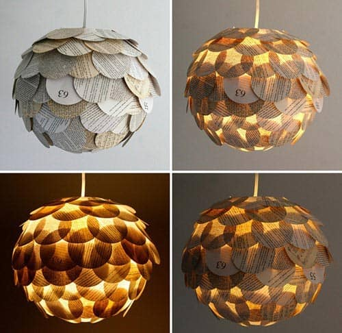 #13 cut out book pages for a chandelier idea you can do yourself for your living room