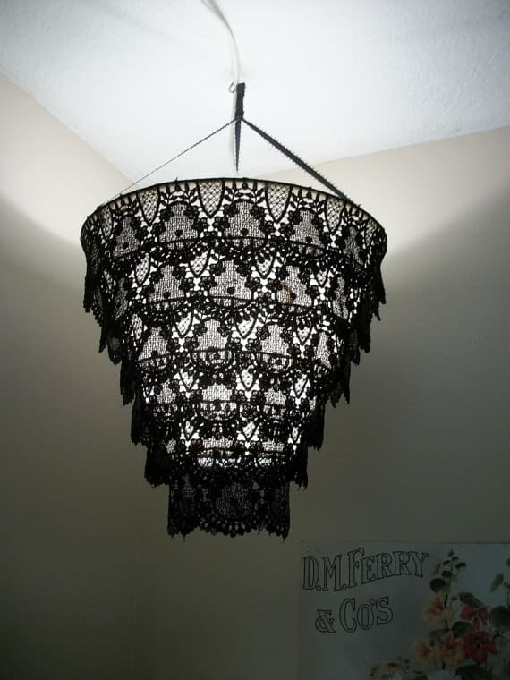 #20 a chandelier diy idea made from black lace cloth
