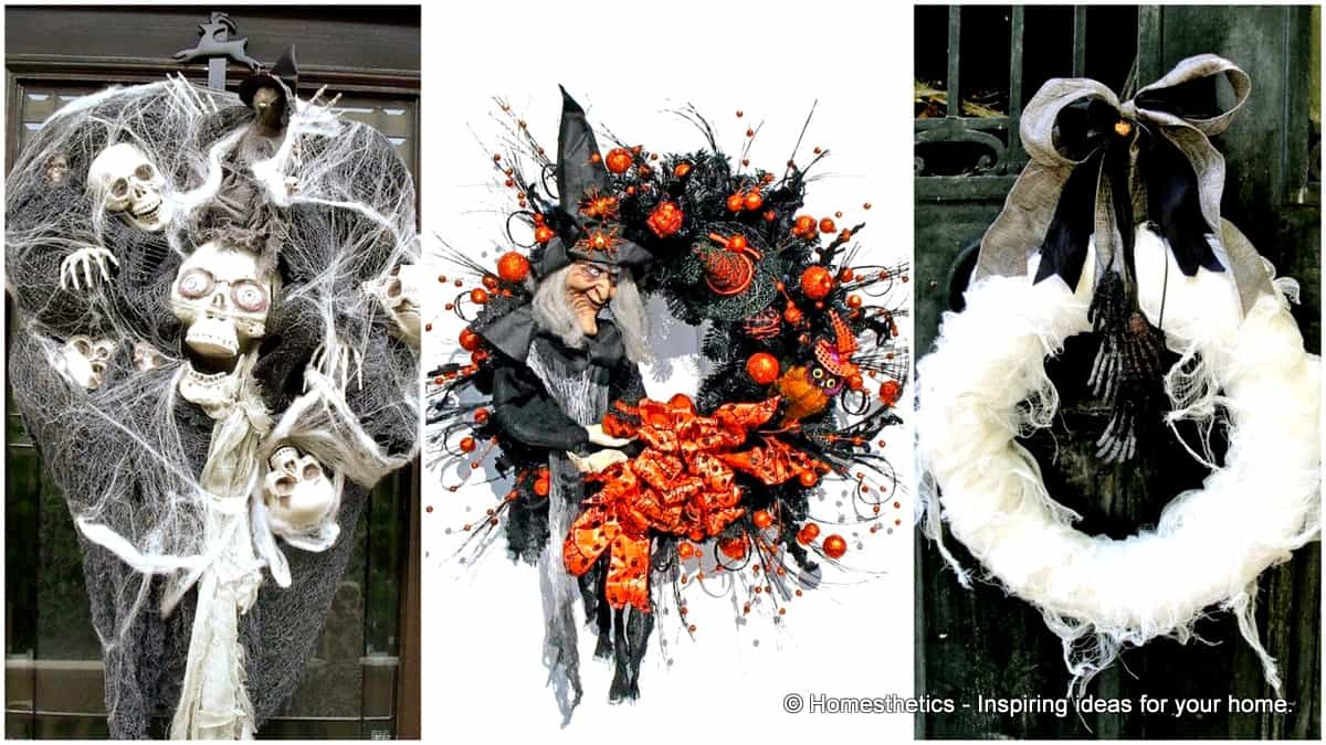 15 Mysterious Chilling and Creepy Halloween Wreath Designs To Realize