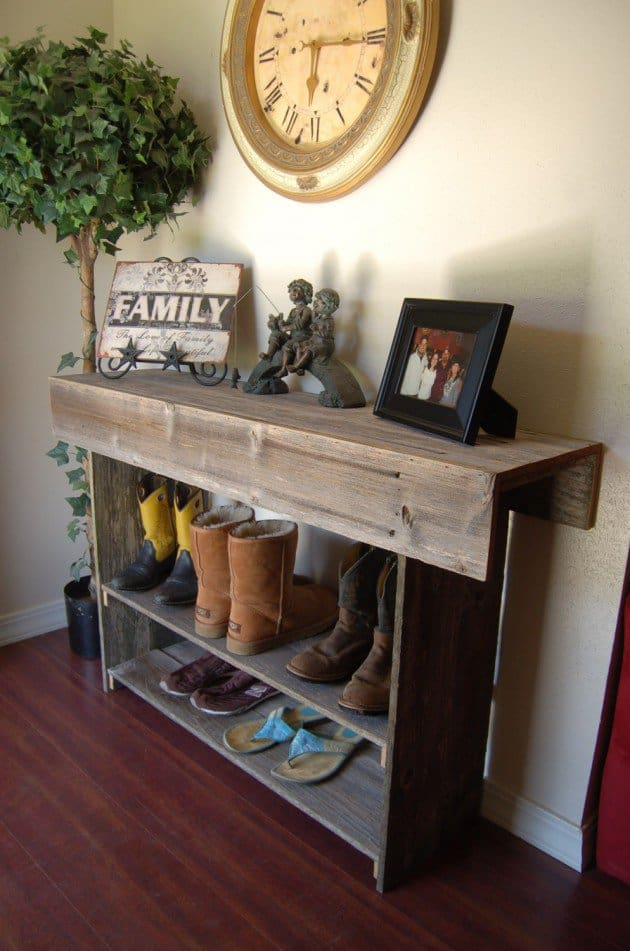 #5 Use Recycled Wood To Create A Small Storage Option
