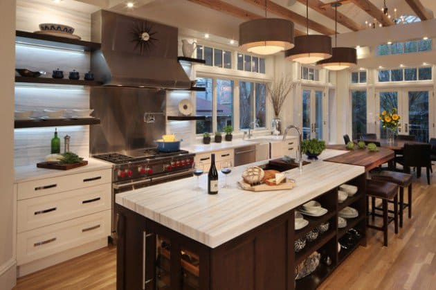#11 Elegant Sober Kitchen Design Featuring Open Shelves