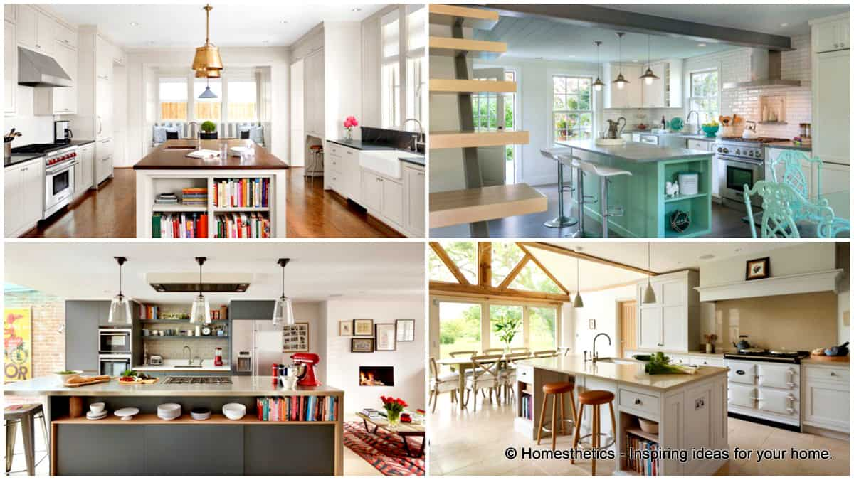 Attractive Kitchen Island With Open Shelves Part - 5: Homesthetics
