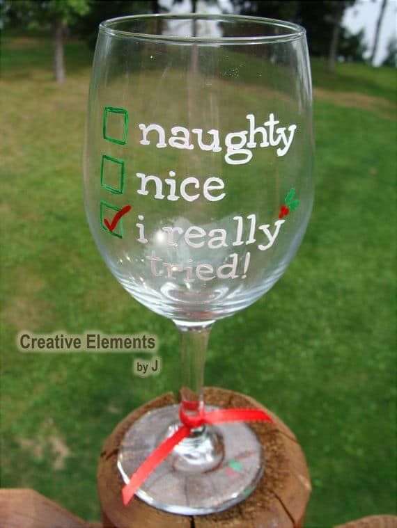 #8 SANTA CLAUSE INSPIRED HAND PAINTED WINE GLASS