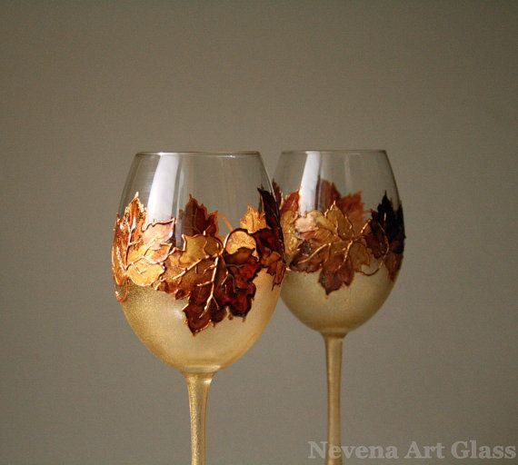 11 Another Autumn Inspired Hand Painted Wine Gl