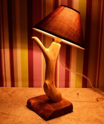 #17 sculptural wooden branch lamp