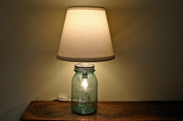 #7 use a vintage blue mason jar to highlight a lamp