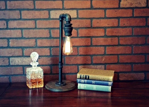#8 use iron elements to create your own industrial table lamp