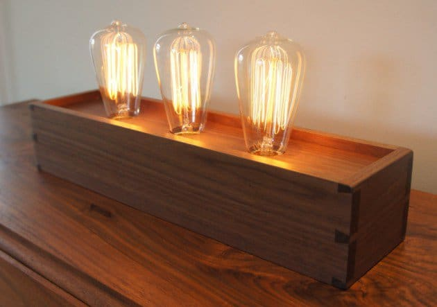 #10 edison lamp walnut box with three vintage bulbs
